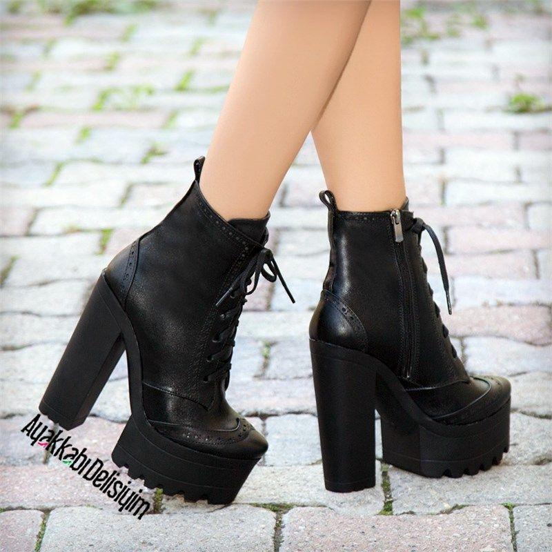 Fermina Siyah Kalin Topuklu Bot Topuklular Bot Topuklu Sandalet