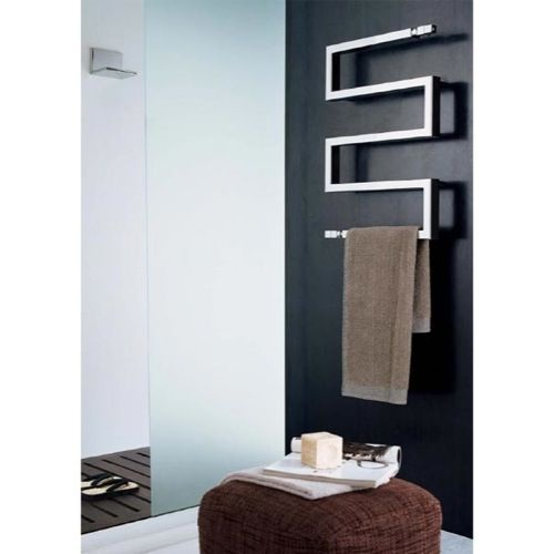 Badkamer Radiator 400mm Hydronic Towel Warmer - Scirocco Snake Rectangular Heated