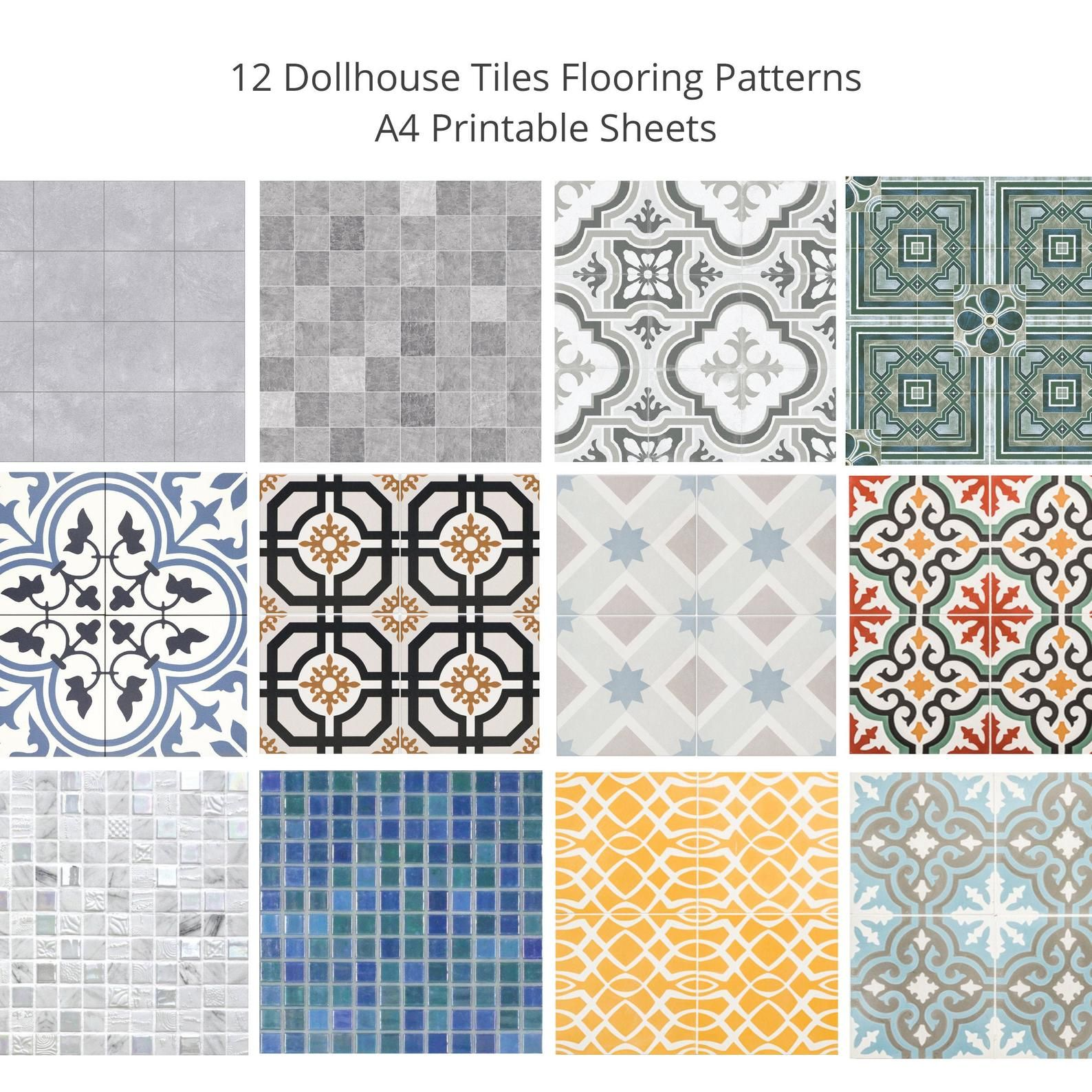 1//12 Dolls House Non-Embossed Terracotta Small Floor Tiles A3 Sheet Card DIY785A