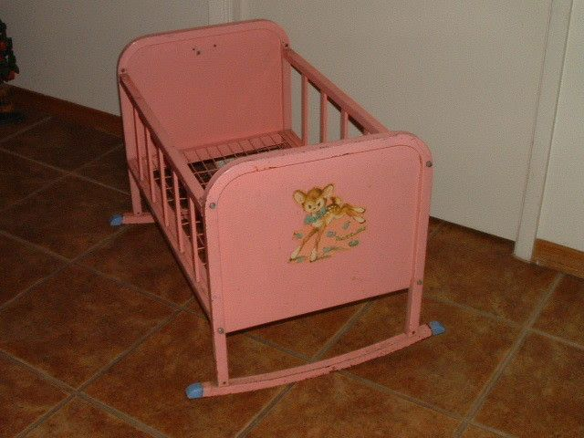 Vintage 1950 S Pink Metal Doll E Cradle By Amsco Toys