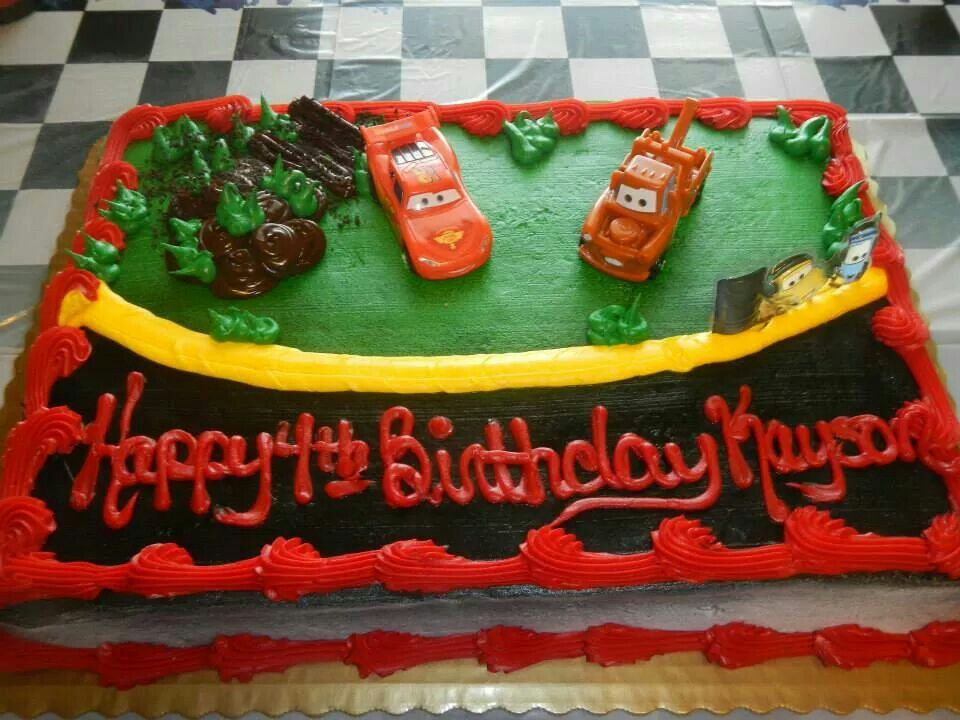 Amazing Kaysons 4Th Birthday Cake Cars Boys Birthday Party 4Th Funny Birthday Cards Online Elaedamsfinfo