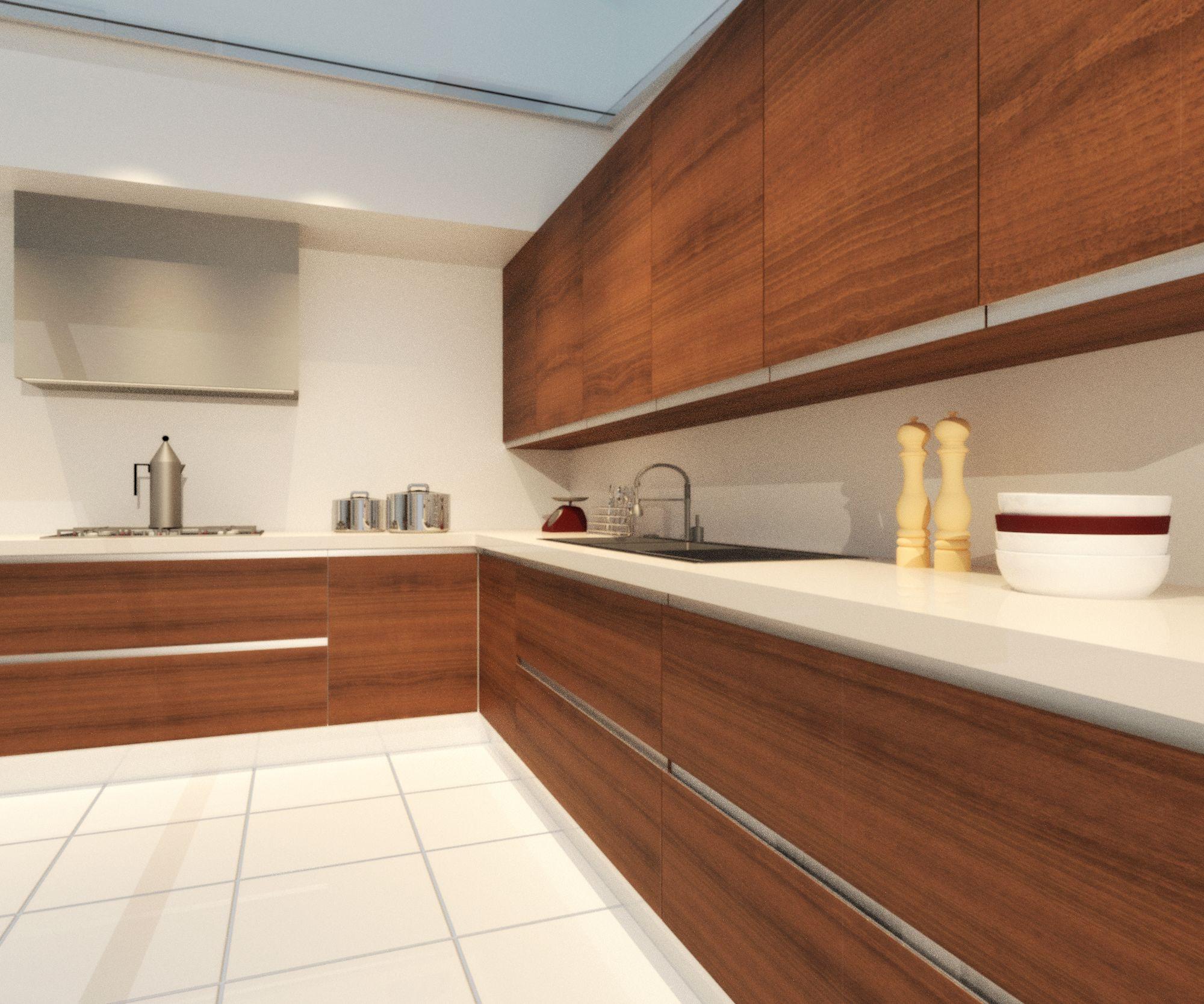 Cocina con puertas de madera de dise o liso modelo onda for Puertas de diseno