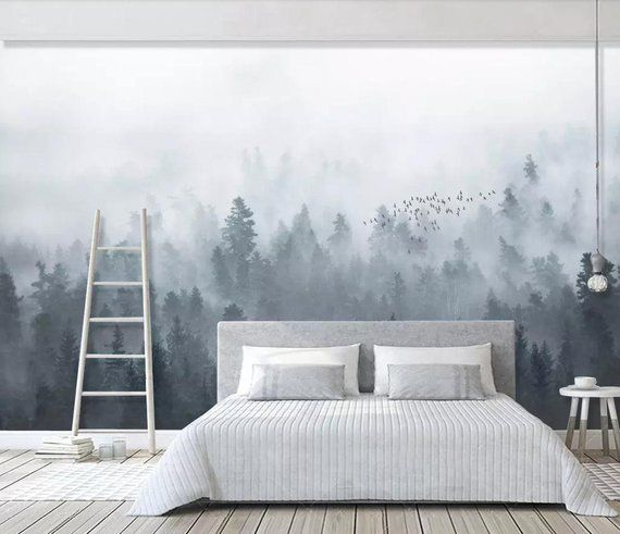 Wall Mural Photo Wallpaper Standard Paper White Black Fog Forest Art Room Decor
