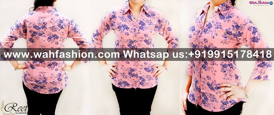 Take your summer look a notch higher with this Pink Flower Printed Cotton Shirt from Reet Glamour. The interesting print of this shirt make it visually appealing. Ensuring good comfort and smoothness is the 100 % cotton fabric of this shirt. You can team this shirt with a pair of pants and wedges to look fashionable.  For more details whatsapp us on +919915178418
