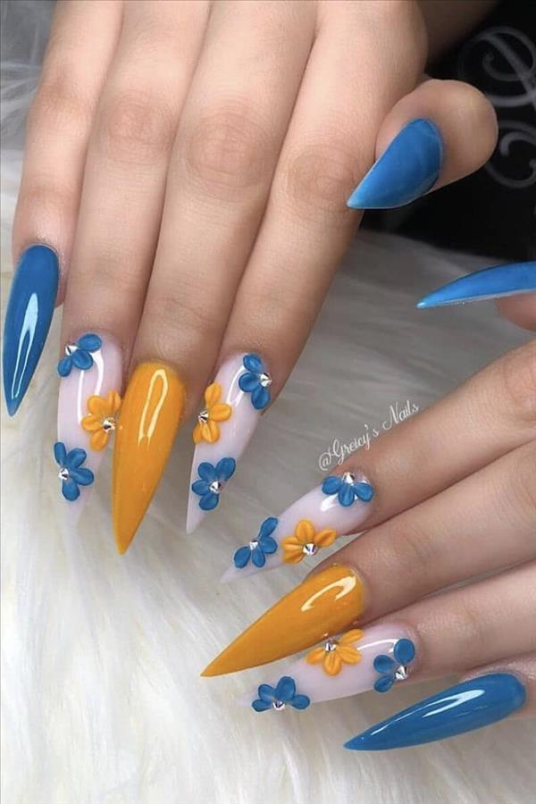 2020 A Collection Of Fashion Blue Nails Fashion Girl S Blog In 2020 Fashion Nails Best Acrylic Nails Summer Acrylic Nails