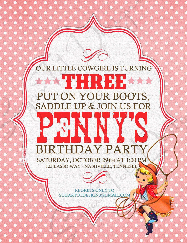 Vintage Cowgirl Birthday Invitation Cowgirl Birthday .....love it ...