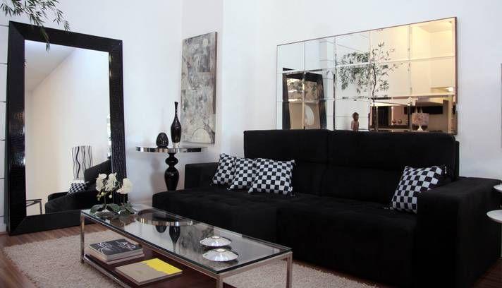Sofa Preto Sala Pequena   Pesquisa Google