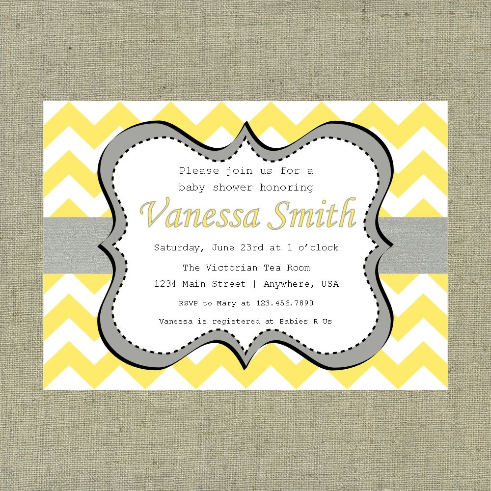 Yellow and Grey Baby Shower Invitations | Invitation Ideas Template ...