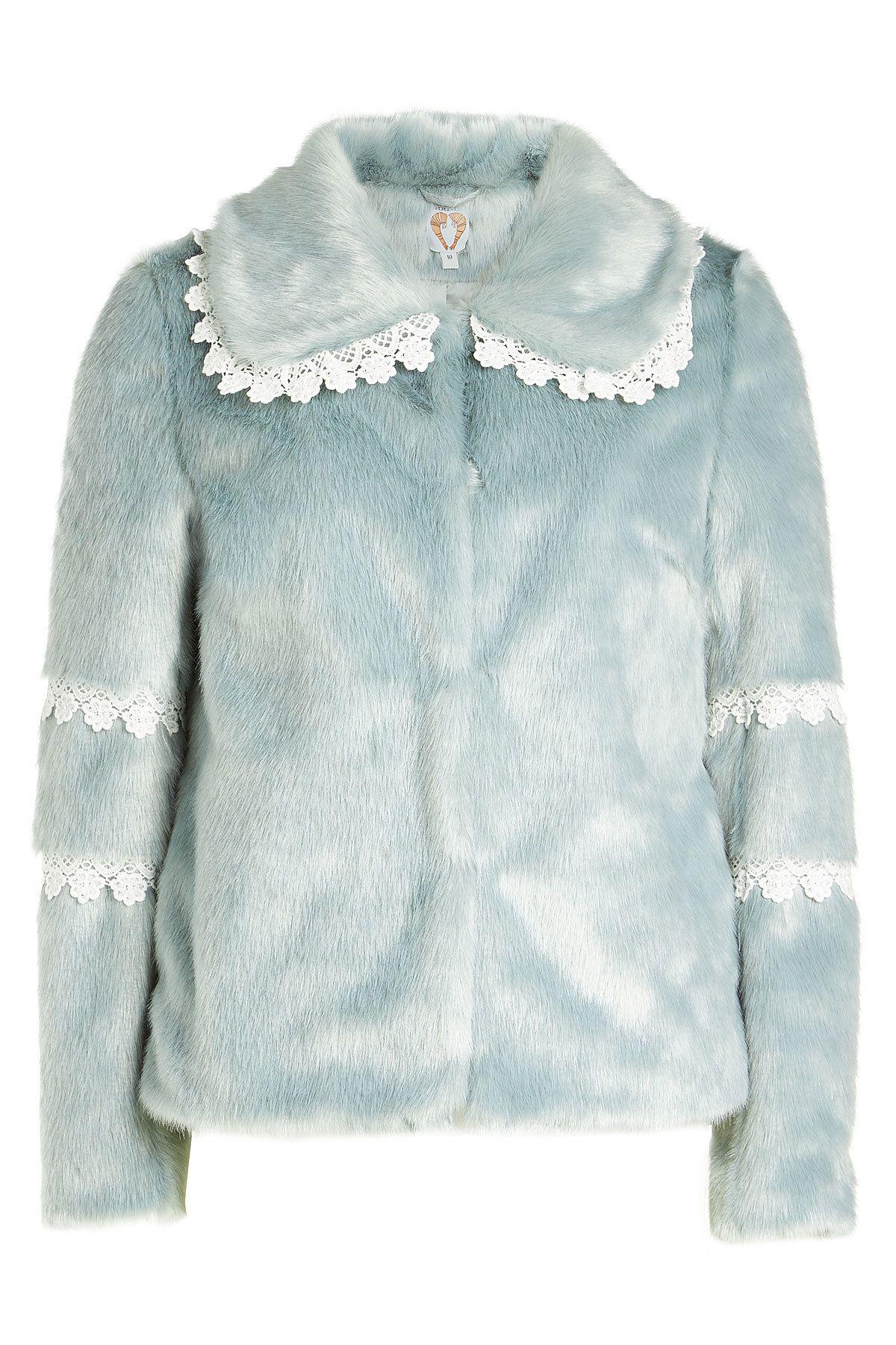 Shrimps Faux Fur Coat With Lace Trim In Blue Modesens Blue Faux Fur Coat Faux Fur Coat Fur Coat