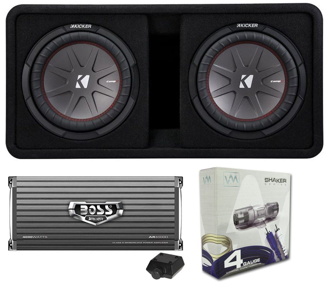 Kicker 12 Inch 2000w Subwoofers With Box 4000w Mono Amp And High Performance Car Audio Wiring Subs Watt New 2000 Loaded Subwoofer Featuring Best In Its Class Installed Minutes