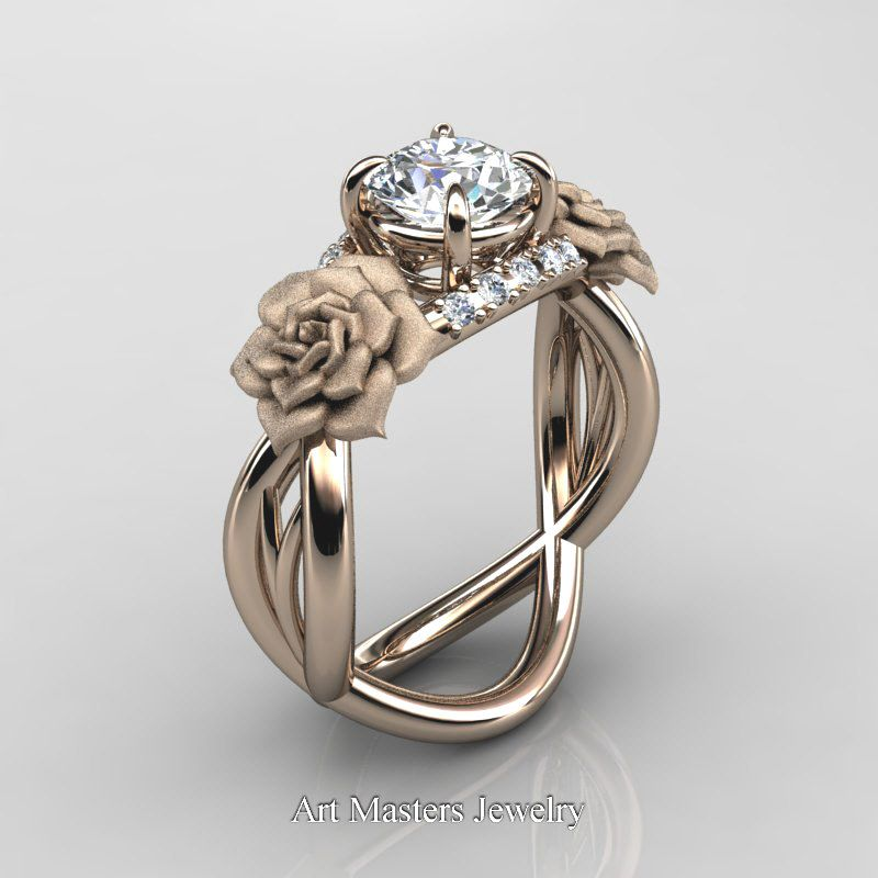 gold ct blue topaz diamond rose vine engagement ring kwgdbt p white sapphire - White Sapphire Wedding Rings