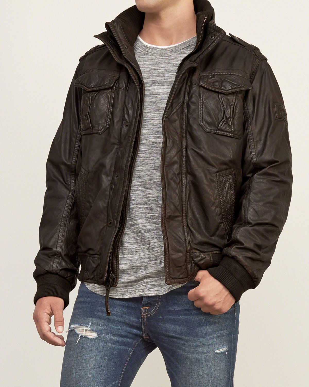 e73bab19bfb Mens Leather Bomber Jacket