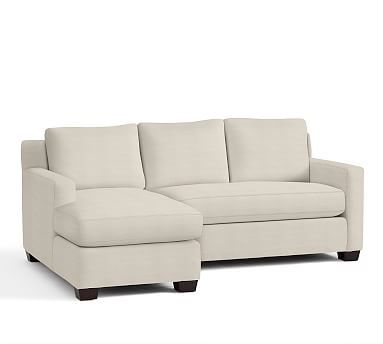 York Square Arm Upholstered Right Arm Sofa with Chaise Sectional, Down Blend Wrapped Cushions, Sunbrella(R) Performance Sahara Weave Ivory