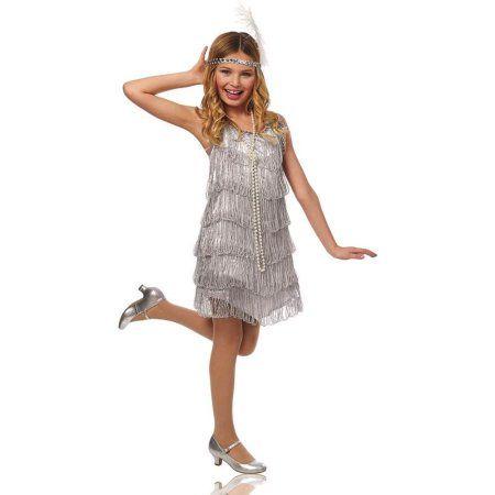 silver flapper kids costume walmartcom - Walmart Costumes Halloween Kids
