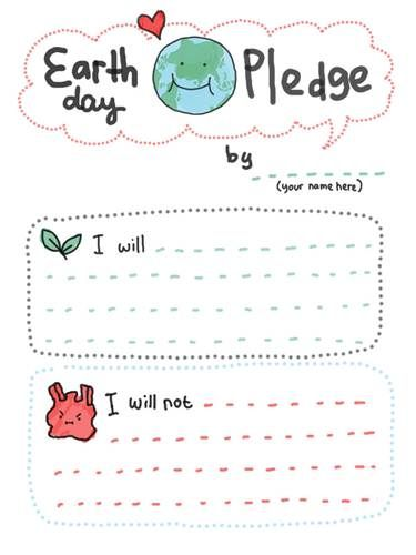 How Adorable Is This Earth Day Pledge Poster For Kids  Earth