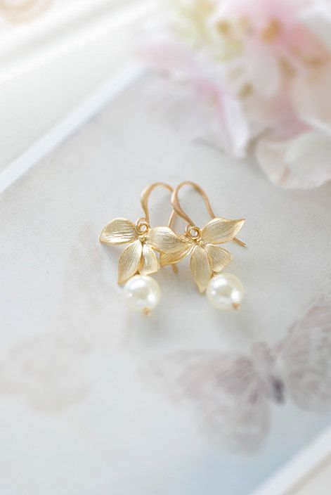 Gold Orchid Flower Round Cream White Pearl Bridal Earrings