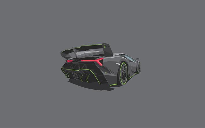 Lataa kuva 4k, Lamborghini Veneno, minimaalinen, harmaa tausta, hypercars
