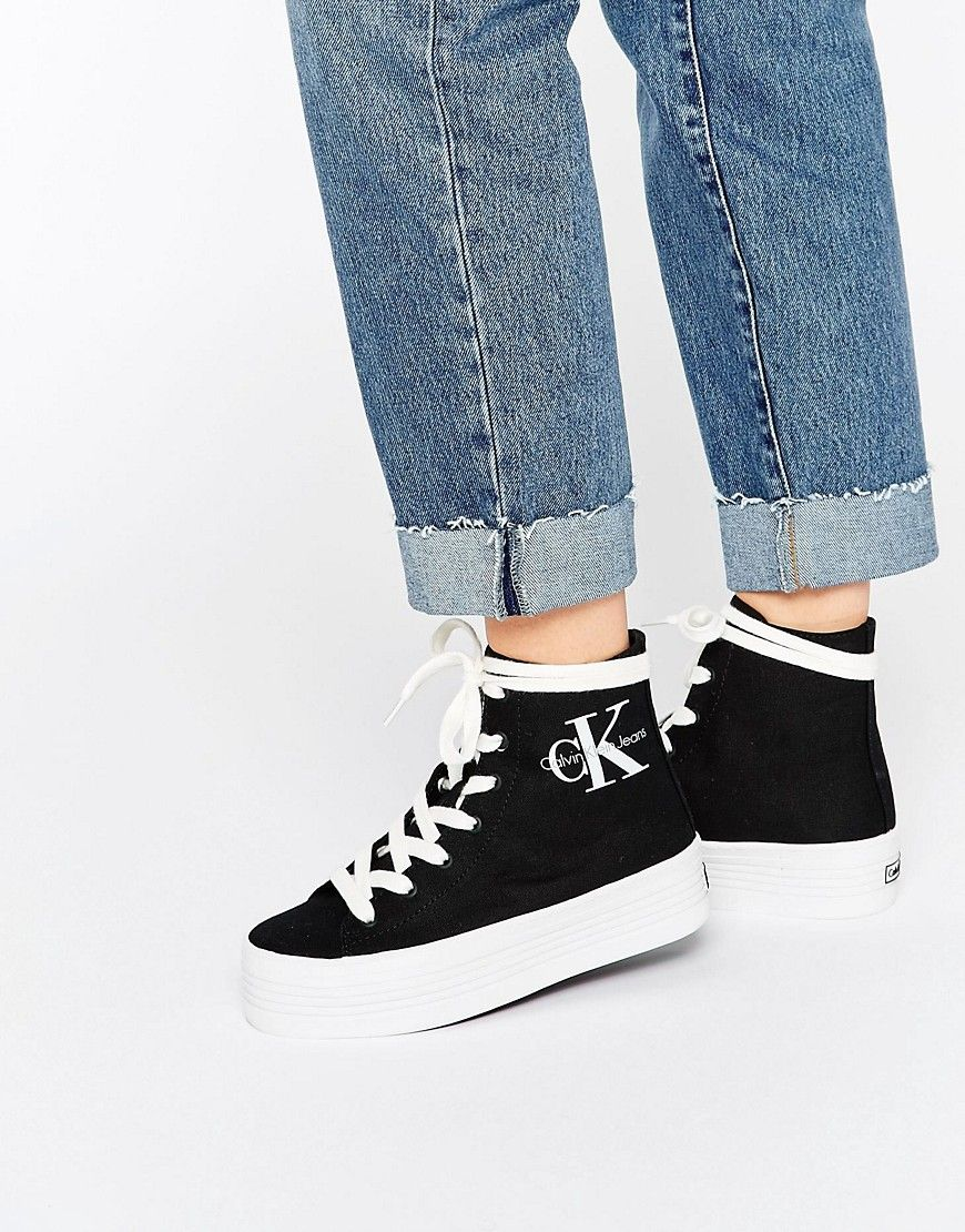 Calvin Klein Jeans Zabrina Black Canvas Hi Top Trainers
