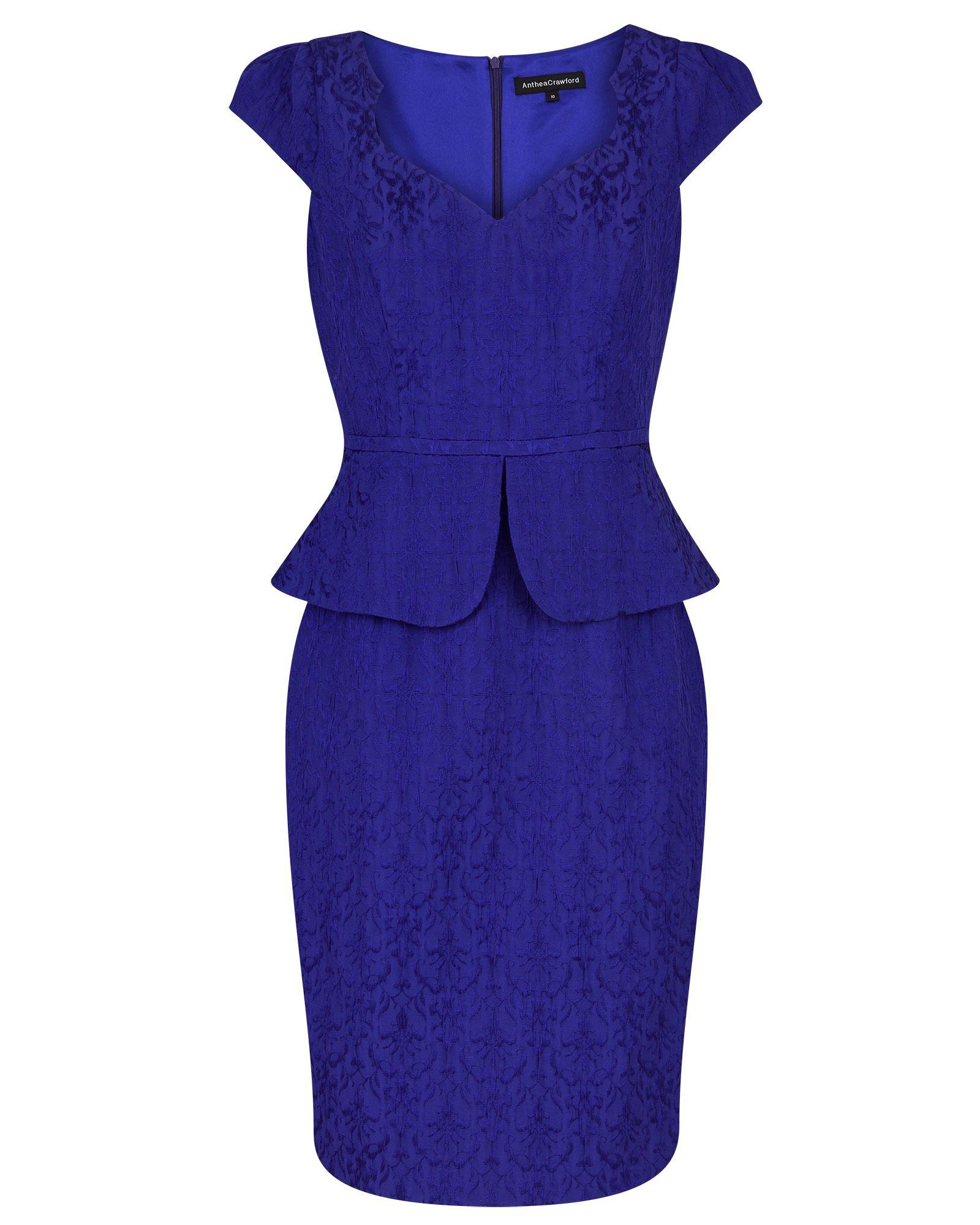 Blueberry Textured Jacquard Peplum Dress | Wedding ideas | Pinterest