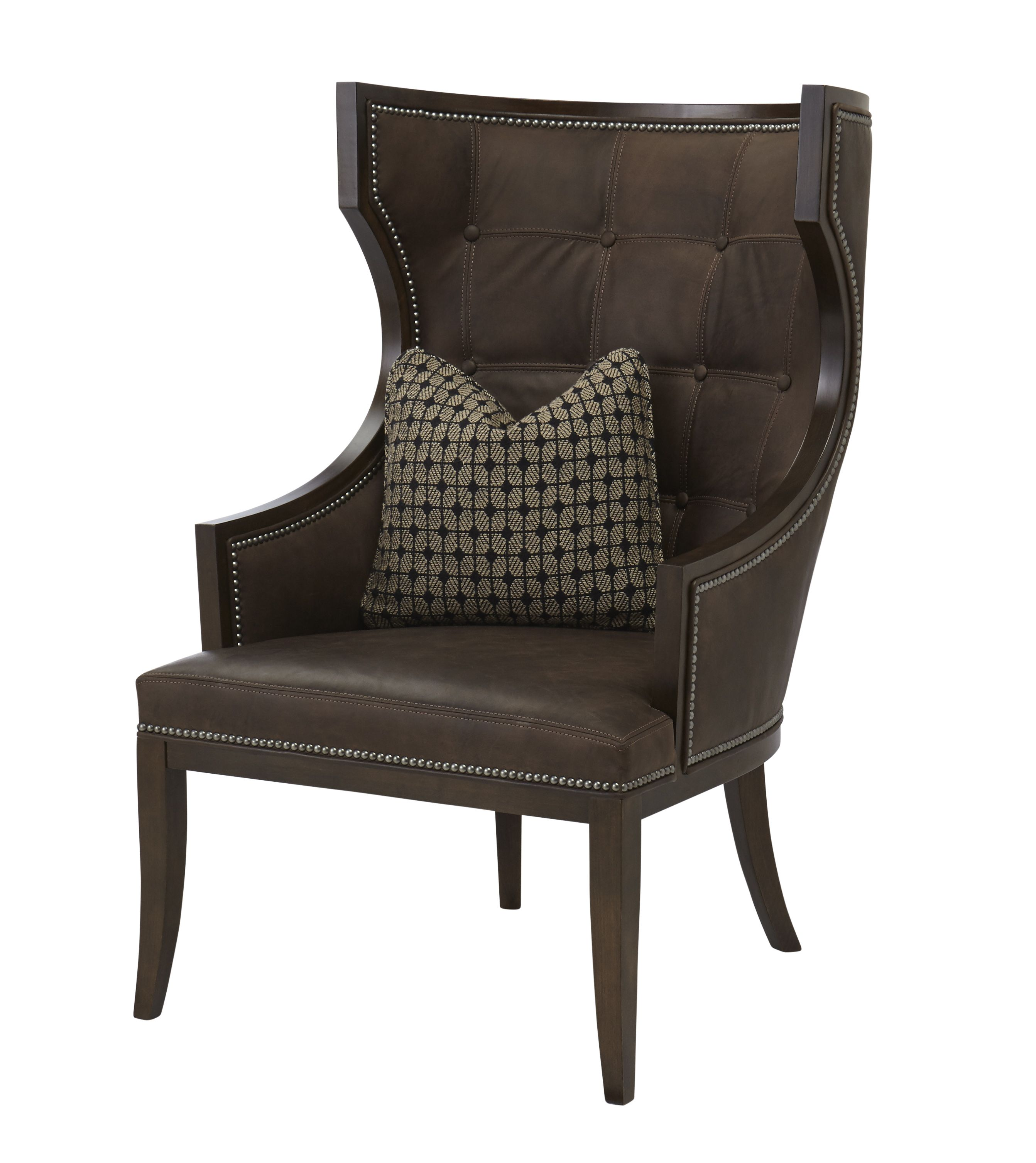 Massoud Hugo Western Chair Western Accent Chairs   Contemporary Western  Design In Fudge Brown Leather With