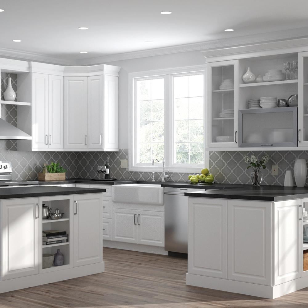 Hampton Bay Designer Series Elgin Assembled 36x36x12 In Wall Kitchen Cabinet With Glass Doors In White Wgd3636 Elwh The Home Depot Open Shelving Kitchen Cabinets Glass Kitchen Cabinet Doors Kitchen Trends