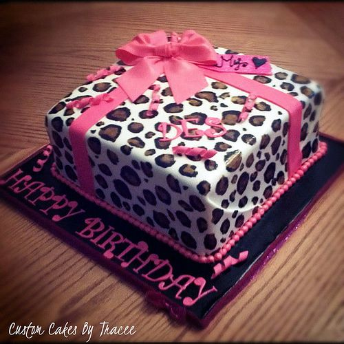 Admirable Decorated Birthday Cakes For Women Square Cheetach Print Leopard Personalised Birthday Cards Petedlily Jamesorg