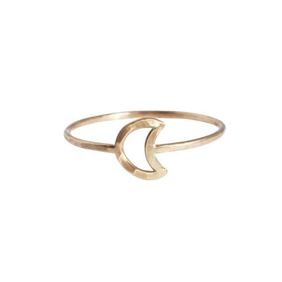 Thin and dainty ring with a tiny perfectly imperfect moon. Hand constructed by me out of thin 14 kt gold filled or solid 14K gold wire, so no two