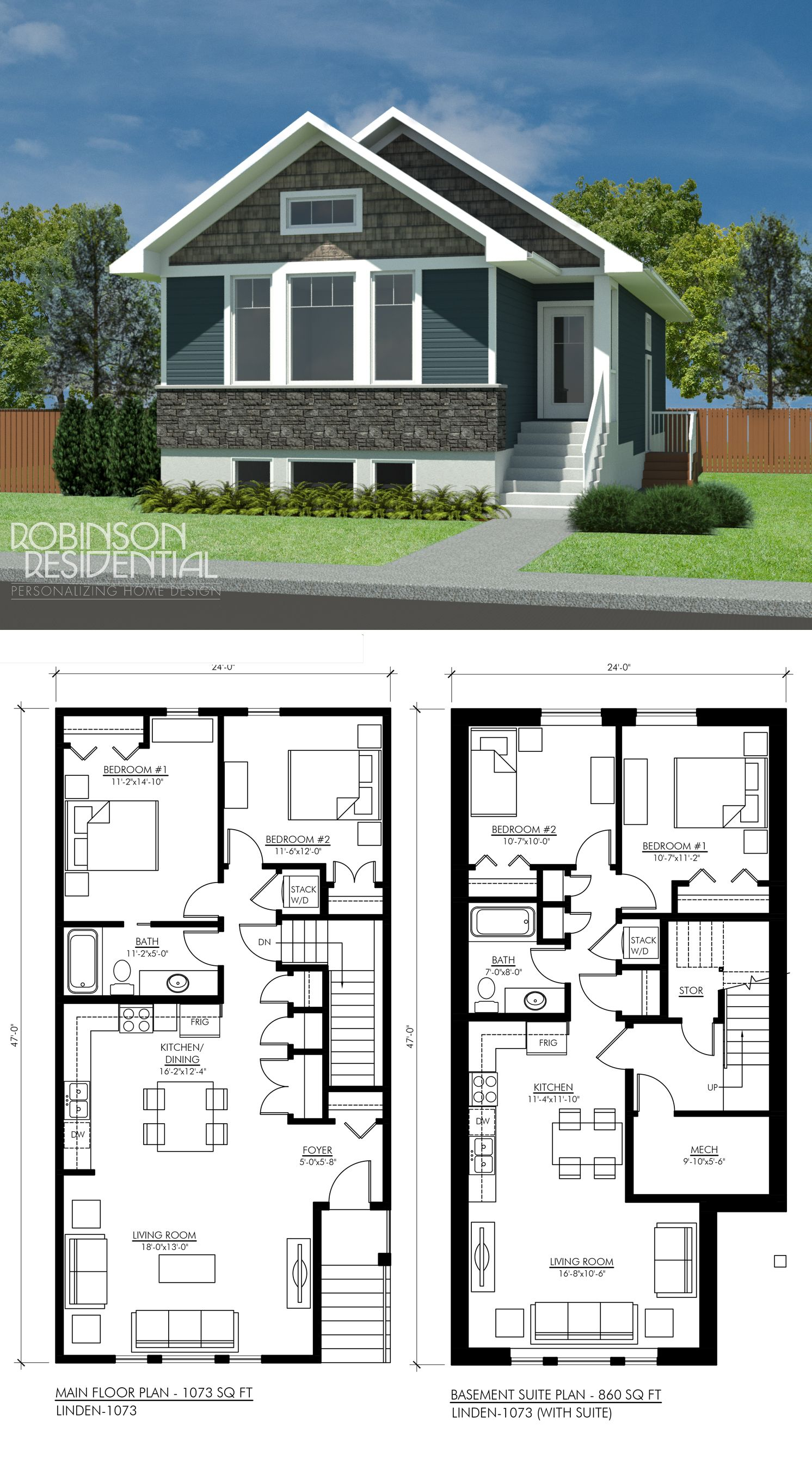 Craftsman Linden 1073 With Suite Basement House Plans New