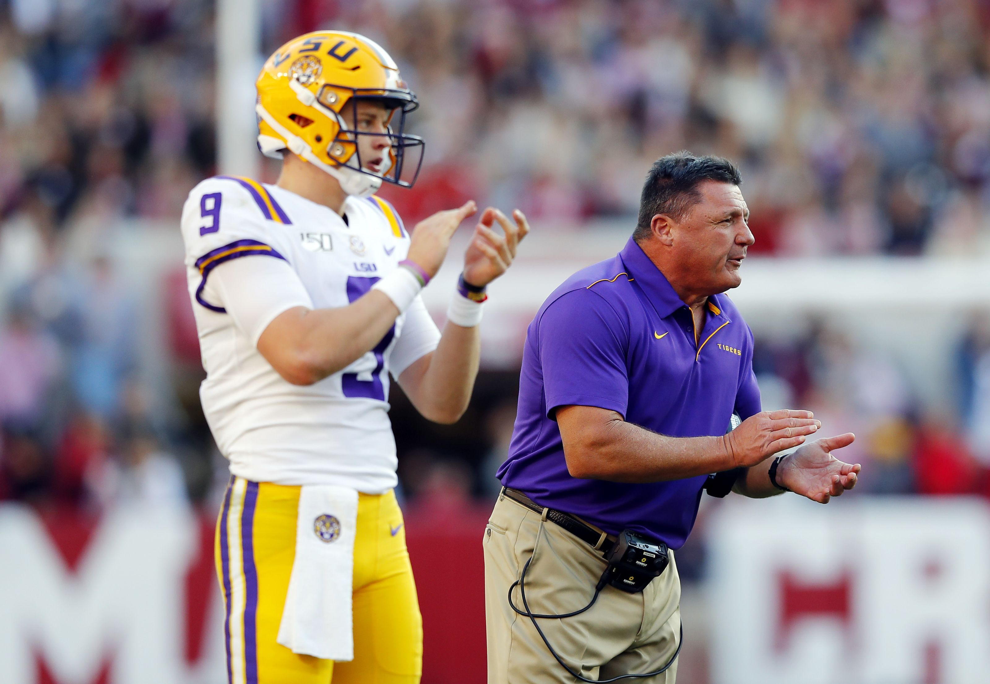 Lsu Football Head Coach Ed Orgeron Wasn T Shy About Praising Tigers Quarterback Joe Burrow The Morning After Winning The In 2020 Lsu Football Lsu Tigers Football Lsu