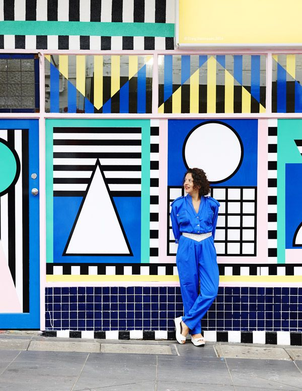 The amazing Camille Walala outside her mural at Third Drawer Down in Greville st, Prahran. Photo - Eve Wilson.