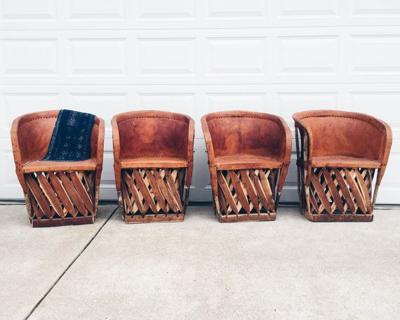 Authentic Mexican Equipale Wood Leather Chairs
