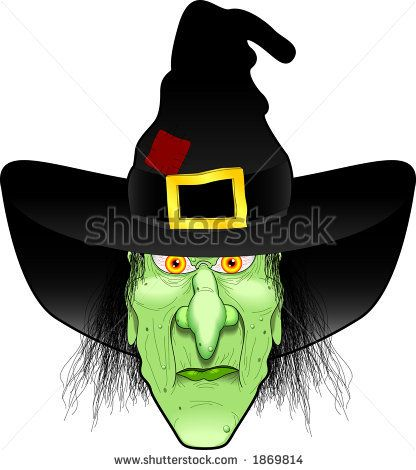 Halloween Cartoon Witch Face.Wicked Witch Clip Art Vector Cartoon Graphic Depicting A Witch S