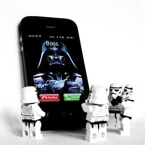 Star Wars Boss on the phone.