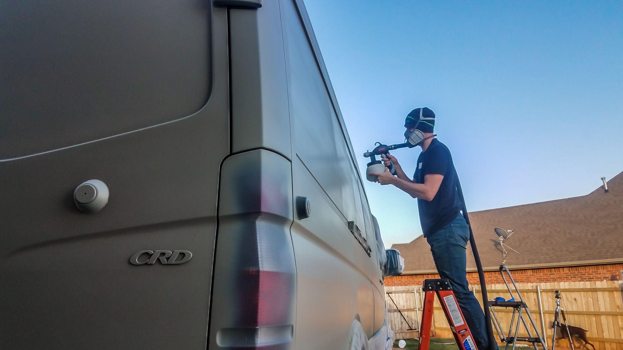Installing fullbody plasti dip on our diy camper van
