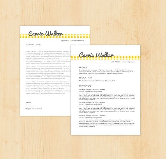 resume template cover letter template the carrie walker resume design instant download