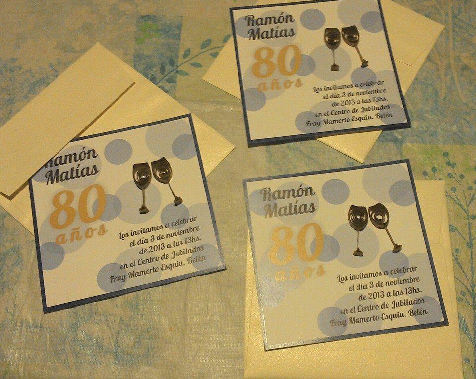 Tarjetas Invitación Para Cumpleaños 80 Años Filigrana
