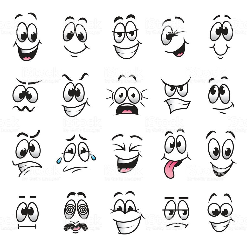 Funny cartoon faces expressions detailed vector set – Zeichnen