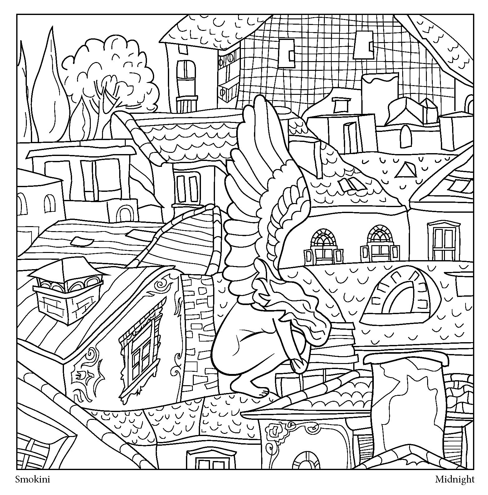 This is one of forty coloring pages of Urban Stories adult coloring ...