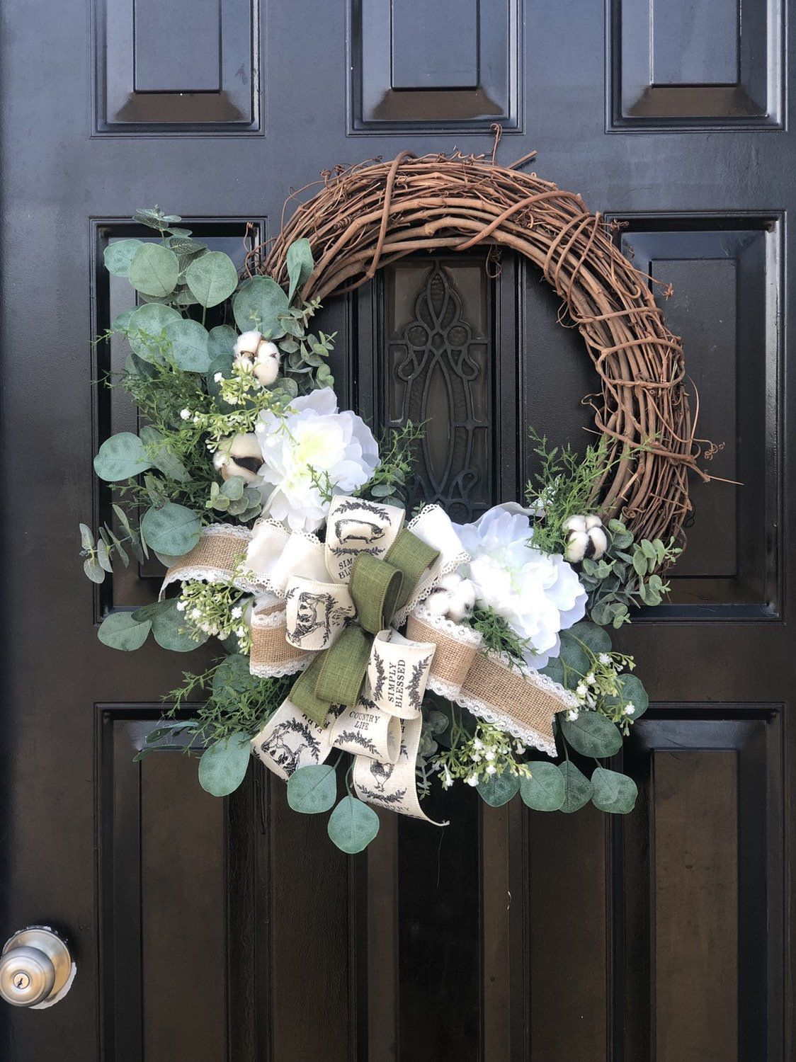 Farmhouse style wreath for front door year round wreath