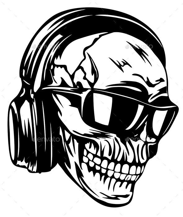 skull in headphones and sunglasses plotten. Black Bedroom Furniture Sets. Home Design Ideas
