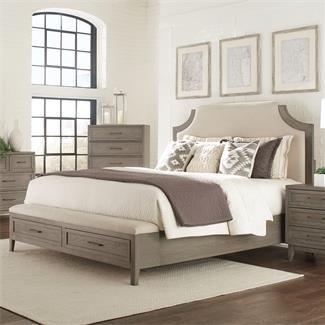 vogue upholstered bed with storage bench footboard i riverside furniture