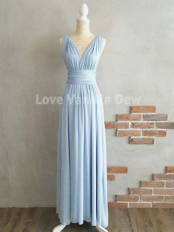 Bridesmaid Dress Infinity Dress Powder Blue with Chiffon Overlay Floor  Length Maxi Wrap Convertible Dress Wedding Dress b550657de8f5
