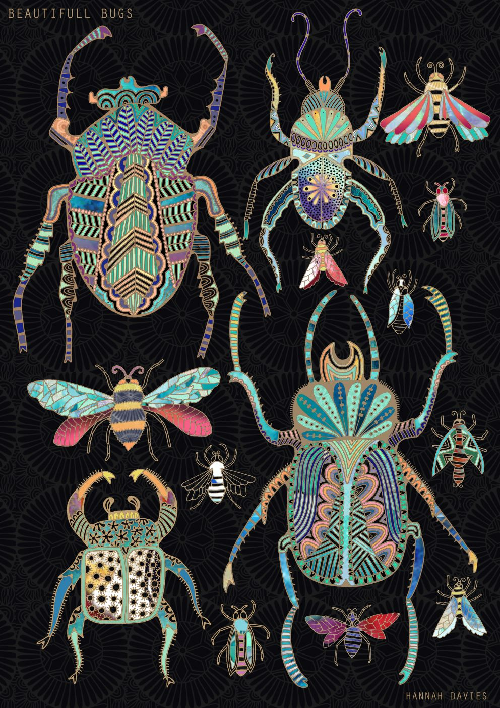 Illustrated by Hannah Davies - Bugs in gold | Chain | Pinterest ...