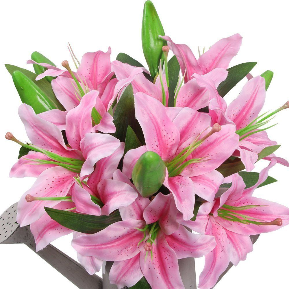 Amyhomie artificial flowers artificial lily fake flowers for amyhomie artificial flowers artificial lily fake flowers for wedding decoration easter decorations silk izmirmasajfo Image collections