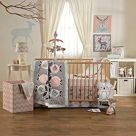 The Mix Match Sparrow Crib Bedding Collection By Lolli Living By Living Textiles Features Birds Flowers And Wood Crib Bedding Sets Baby Crib Sets Baby Bed