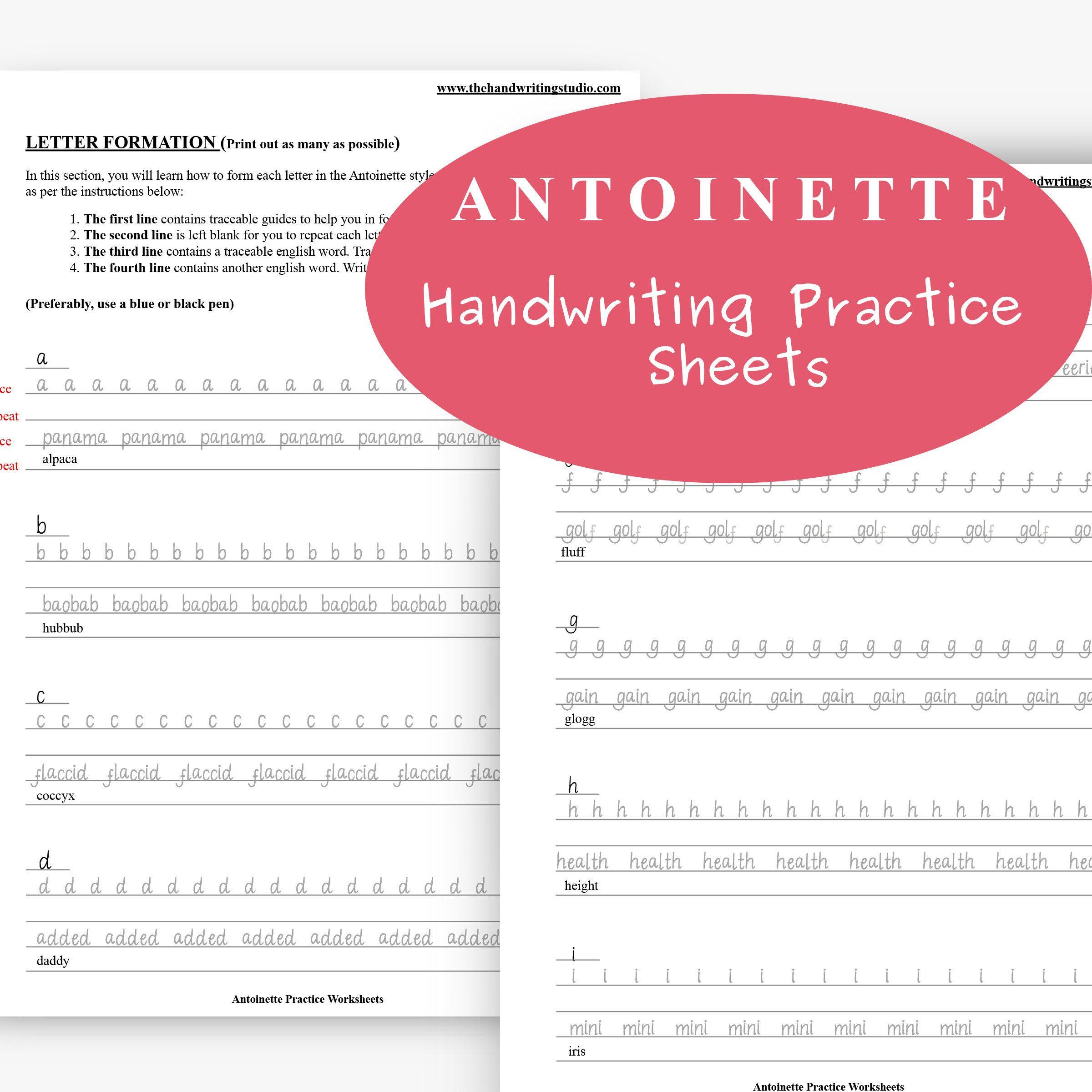 Antoinette Handwriting Practice Sheets Lowercase Uppercase Etsy Handwriting Practice Sheets Handwriting Practice Improve Your Handwriting Handwriting practice sheets pdf download