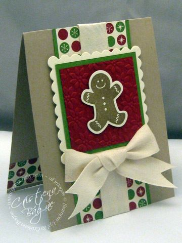 Layout: Scallop square layers, ribbon, and DSP accent inside | Stamped christmas cards ...