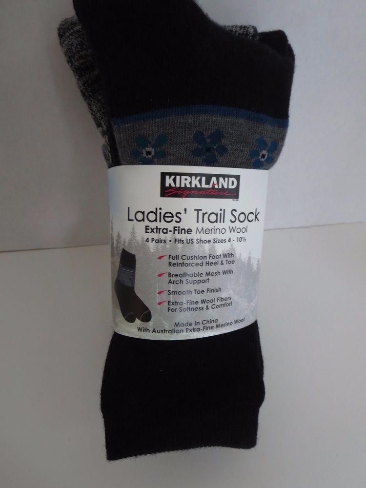 5227f4d7e 4 Pair Kirkland Signature Ladies Trail Socks Extra Fine Merino Wool Women  Prints…