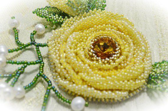 75e2d4bd4d6 Swarovski Yellow Crystal Brooch Beaded Wedding Floral Brooch Handmade  Artisan Brooch Beaded Pin Stat