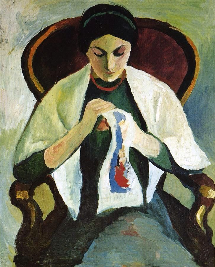 August Macke(1887ー1914)「Woman Embroidering in an Armchair: Portrait of the Artist's Wife」(1909)